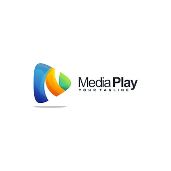 Media play-logo Premium Vektoren