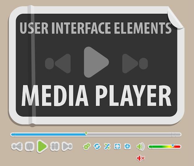 Media player-benutzeroberflächenelement im papierstil