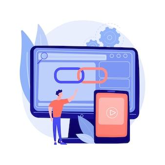 Media player, software, computeranwendung. geolocation app, standortbestimmungsfunktion. männlicher implementierer, programmierer-zeichentrickfigur.