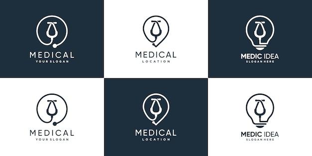 Medic logo sammlung mit kreativem elementkonzept premium-vektor