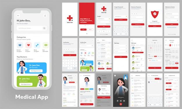 Medical app ui kit für reaktionsschnelle website-vorlagen mit unterschiedlichem gui-layout, einschließlich konto erstellen, arztprofile, termin und videoanrufbildschirm.