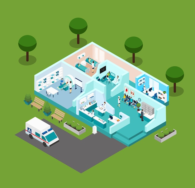 Medical center isometric scheme icons