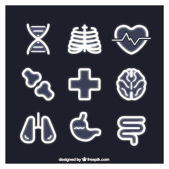 Medical icons in neon style