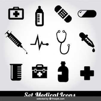 Medical monochrome icons set
