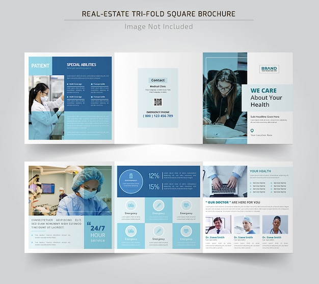 Medical square trifold broschüren vorlage