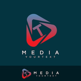 Medien anfangsbuchstabe t logo design