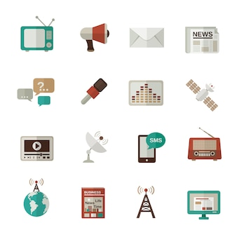 Medien-icons flach