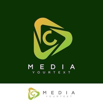 Medien initial buchstabe c logo design