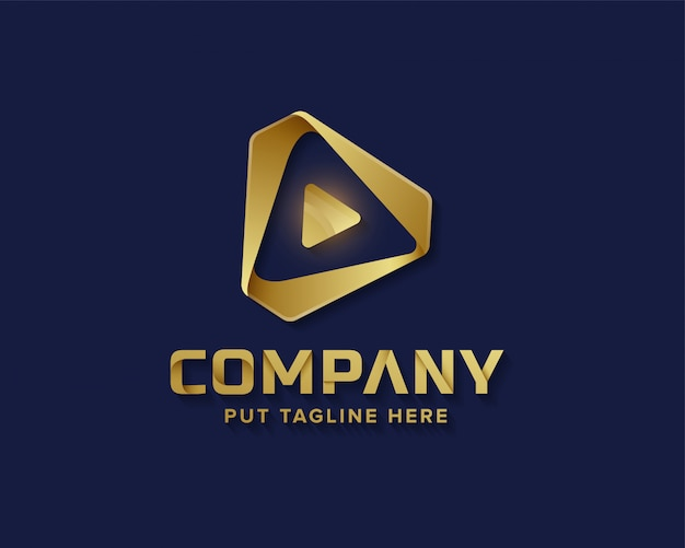 Medien spielen goldenes logo