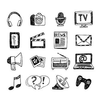 Medien- und nachrichtenikonen-skizzensatz