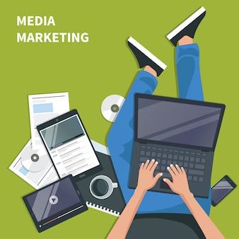 Medienmarketing und werbekonzept