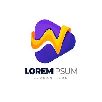 Medienmusik mit buchstabe m logo musik spielen farbverlauf logo vorlage