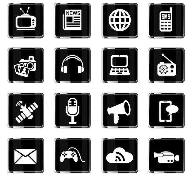 Mediensymbole websymbole für das design der benutzeroberfläche