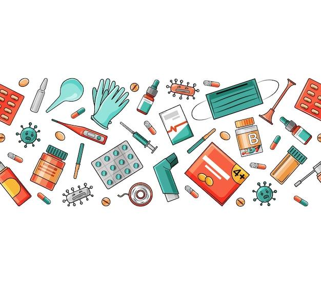 Medikamente, pillen, maske, handschuh und thermometer