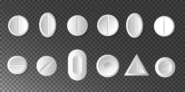 Medikamente. satz weiße pillen und tabletten auf transparent