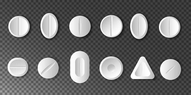Medikamente. satz weiße pillen und tabletten auf transparent.
