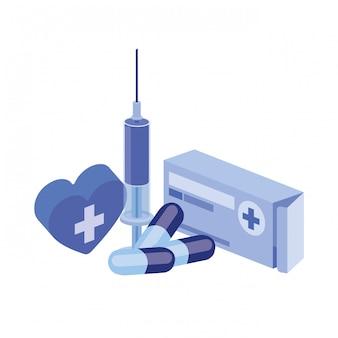 Medikamentendrogen auf weiß