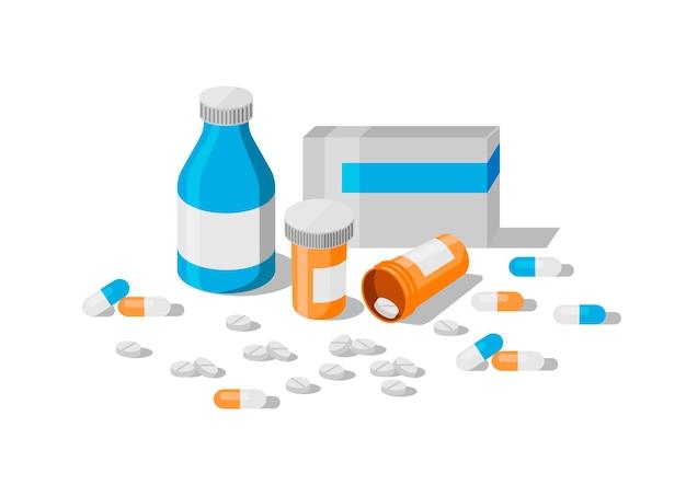 Medikamentensammlung set von medizinischen artikeln flaschen pillen kapseln