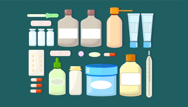 Medikamentensatz von medikamenten.