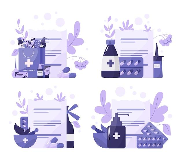 Medikamentenset. sammlung von apotheke droge in der flasche. medizinpille zur behandlung von krankheiten und rezeptform. medizin und gesundheitswesen. drogerie. illustration