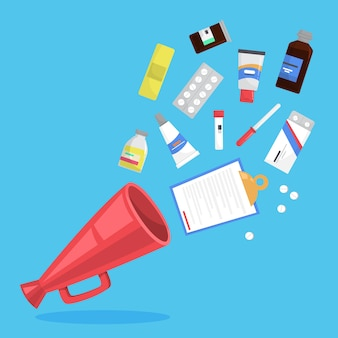 Medikamentenset. sammlung von apotheke droge in der flasche