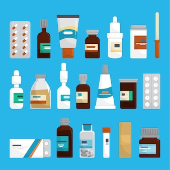 Medikamentenset. sammlung von apotheke droge in der flasche.