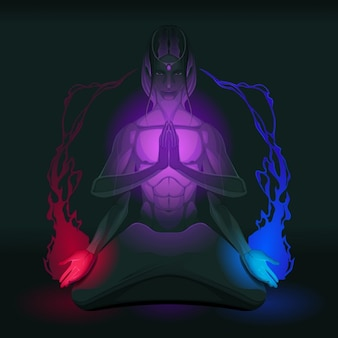 Meditation auf vereinigung der gegenüberliegenden innen vektor-illustration
