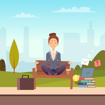 Meditation der geschäftsfrau in der stadtparkillustration
