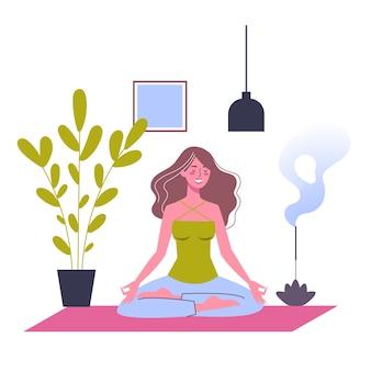 Meditation in lotushaltung. yoga-praxis für die gesundheit von körper und geist. entspannen sie sich und frieden. illustration