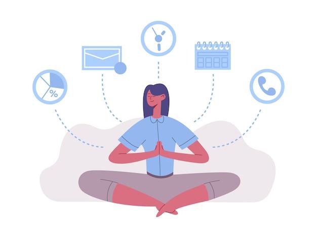 Meditation lotus position frau arbeit und ruhe balance. meditationspraxis für erfolgreiche zeitmanagement-vektorillustration. psychische gesundheit der frau