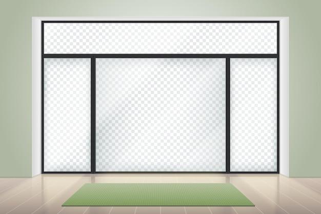 Meditation oder yoga raum interieur. großer glasflügelflügelrahmen mit transparenter wand. realistische entspannungsstudioillustration. yoga-innenraum mit fenster, fitness-studio im innenbereich