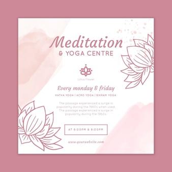 Meditation und achtsamkeit im quadrat flyer vorlage