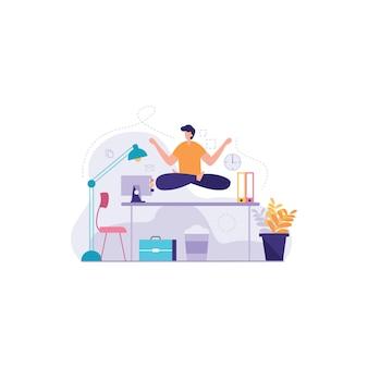Meditation während der arbeit illustration