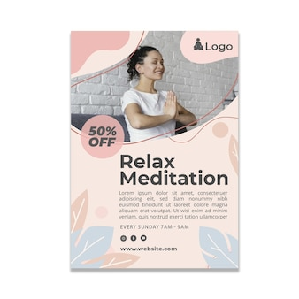 Meditations- und achtsamkeitsflyer vertikal
