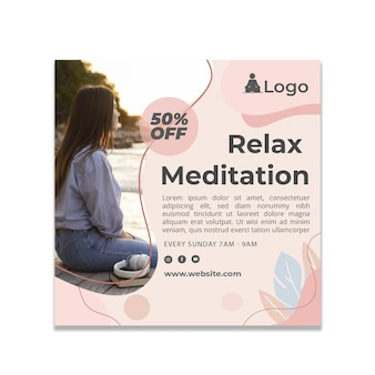 Meditations- und achtsamkeitsflyerquadrat