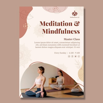 Meditations- und achtsamkeitsplakatvorlage