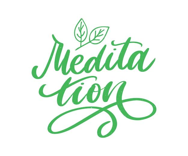 Meditationsbeschriftung mit blattdekoration