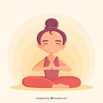 Meditationskonzept mit flachem charakter