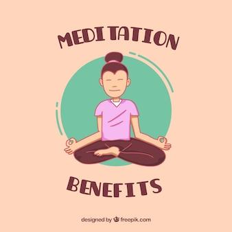 Meditationskonzept mit hand gezeichnetem charakter