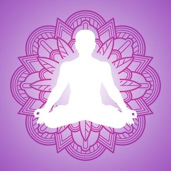 Meditationsperson auf blumenmandalarahmen. yoga-logo-design