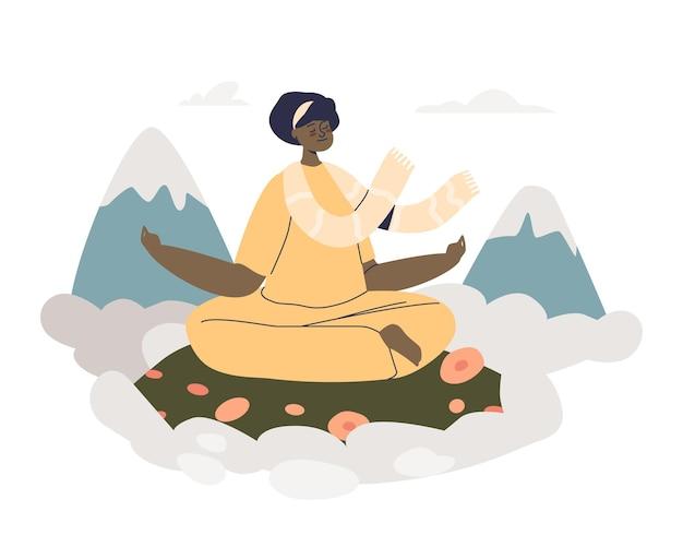 Meditationsretreat in den bergen: frau praktiziert yoga im freien, meditiert und beruhigt. junge frau, die in zenposition sitzt. wellness- und wohlfühlkonzept. flache vektorillustration der karikatur