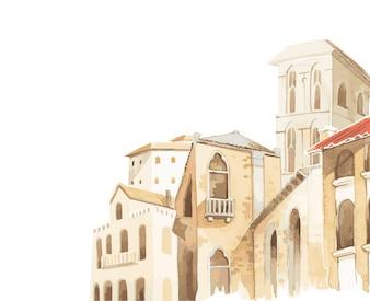 Mediterrane Stadt, die Außenwasserfarbart errichtet