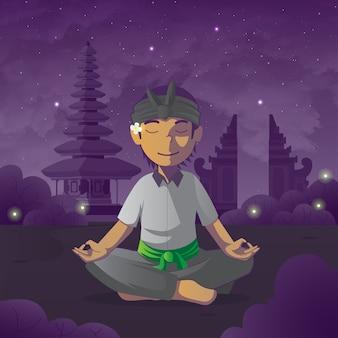 Meditiere balinesischen mann auf stillem tageshintergrund Premium Vektoren