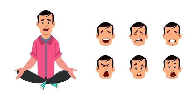 Meditieren oder yoga-haltung im sitzen des jungen mannes. charakter des jungen mannes mit unterschiedlichem gesichtsausdruck.