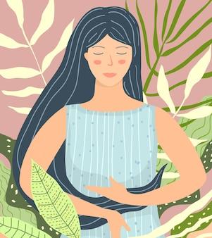 Meditierende frau in der naturschönheit flaches design. schöne frau, die in tropischer natur in frieden und ruhe sitzt.