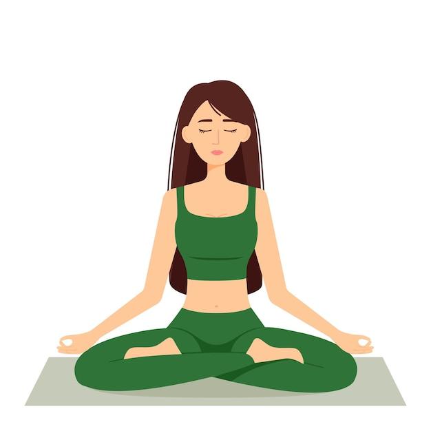 Meditierende frau. mädchen im lotussitz, yoga zu praktizieren, vektorillustration