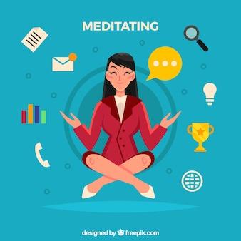 Meditierender konzepthintergrund