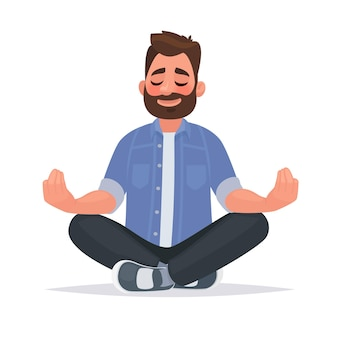 Meditierender mann über isoliert. ruhe bewahren, ruhig bleiben. im cartoon-stil