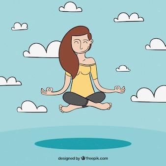 Meditierendes konzept mit der hand gezeichneten entspannten frau