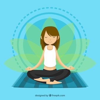 Meditierendes konzept mit entspannter frau